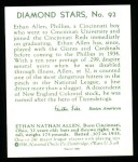 1934 Diamond Stars Reprint #92  Ethan Allen  Back Thumbnail