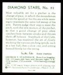 1934 Diamond Stars Reprint #52  George Tuck Stainback  Back Thumbnail