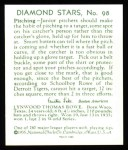 1934 Diamond Stars Reprint #98  Schoolboy Rowe  Back Thumbnail