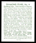 1934 Diamond Stars Reprint #9  Mickey Cochrane  Back Thumbnail