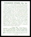 1934 Diamond Stars Reprint #65  Zeke Bonura  Back Thumbnail