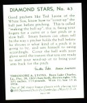 1934 Diamond Stars Reprint #43  Ted Lyons  Back Thumbnail