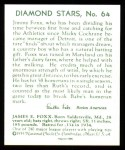 1934 Diamond Stars Reprint #64  Jimmie Foxx  Back Thumbnail
