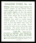 1934 Diamond Stars Reprint #108  Walter Berger  Back Thumbnail