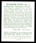 1934 Diamond Stars Reprint #7  Lew Fonseca  Back Thumbnail
