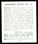 1934 Diamond Stars Reprint #35  Earle Averill  Back Thumbnail