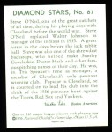 1934 Diamond Stars Reprint #87  Steve O'Neil   Back Thumbnail