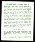 1934 Diamond Stars Reprint #2  Al Simmons  Back Thumbnail