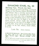 1934 Diamond Stars Reprint #20  Frank Shanty Hogan  Back Thumbnail