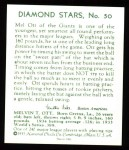 1934 Diamond Stars Reprint #50  Mel Ott  Back Thumbnail