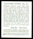 1934 Diamond Stars Reprint #97  Al Lopez  Back Thumbnail