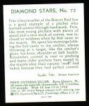 1934 Diamond Stars Reprint #73  Fritz Ostermueller  Back Thumbnail