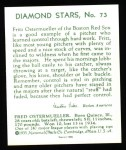 1934 Diamond Stars Reprints #73  Fritz Ostermueller  Back Thumbnail