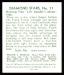 1934 Diamond Stars Reprint #17  Frankie Frisch  Back Thumbnail