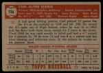 1952 Topps #116 xBRK Carl Scheib  Back Thumbnail