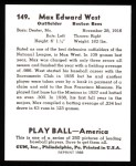 1939 Play Ball Reprint #149  Max West  Back Thumbnail