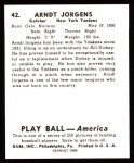 1939 Play Ball Reprint #42  Arndt Jorgens  Back Thumbnail