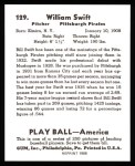 1939 Play Ball Reprint #129  Bill Swift  Back Thumbnail