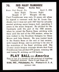 1939 Play Ball Reprint #70  Fred Frankhouse  Back Thumbnail