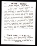 1939 Play Ball Reprints #61  Tony Cuccinello  Back Thumbnail