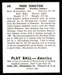 1939 Play Ball Reprints #68  Fred Sington  Back Thumbnail