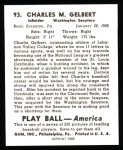 1939 Play Ball Reprints #93  Charles Gelbert  Back Thumbnail