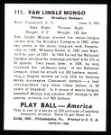 1939 Play Ball Reprint #111  Van Lingle Mungo  Back Thumbnail