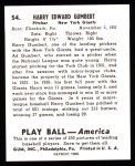 1939 Play Ball Reprint #54  Harry Gumpert  Back Thumbnail