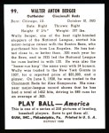 1939 Play Ball Reprint #99  Wally Berger  Back Thumbnail