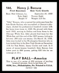 1939 Play Ball Reprint #144  Zeke Bonura  Back Thumbnail