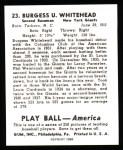 1939 Play Ball Reprints #23  Burgess Whitehead  Back Thumbnail