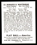 1939 Play Ball Reprint #23  Burgess Whitehead  Back Thumbnail