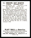 1939 Play Ball Reprint #12  Hershel Martin  Back Thumbnail