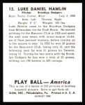 1939 Play Ball Reprint #13  Luke Hamlin  Back Thumbnail