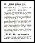 1939 Play Ball Reprint #39  Rick Ferrell  Back Thumbnail