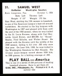 1939 Play Ball Reprint #31  Sam West  Back Thumbnail