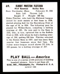 1939 Play Ball Reprint #69  Elbie Fletcher  Back Thumbnail
