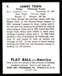 1939 Play Ball Reprint #9  James Tobin  Back Thumbnail