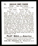 1939 Play Ball Reprint #71  Monte Pearson  Back Thumbnail