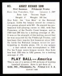 1939 Play Ball Reprint #83  Gus Suhr  Back Thumbnail