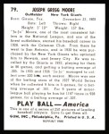 1939 Play Ball Reprint #79  Jo Jo Moore  Back Thumbnail