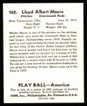 1939 Play Ball Reprint #162  Whitey Moore  Back Thumbnail
