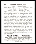 1939 Play Ball Reprint #60  Schoolboy Rowe  Back Thumbnail