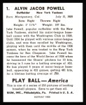 1939 Play Ball Reprint #1  Jake Powell  Back Thumbnail