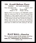 1939 Play Ball Reprint #135  Mickey Owen  Back Thumbnail