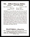 1939 Play Ball Reprint #125  Cliff Melton  Back Thumbnail