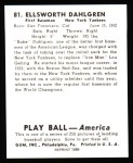 1939 Play Ball Reprint #81  Babe Dahlgren  Back Thumbnail