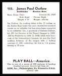 1939 Play Ball Reprint #155  Jimmy Outlaw  Back Thumbnail