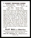 1939 Play Ball Reprints #7  Bobby Doerr  Back Thumbnail