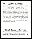 1939 Play Ball Reprint #14  Jim Tabor  Back Thumbnail